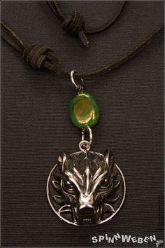 Neu Wolf Kopf am Lederband  Halskette Edelstahl Metall