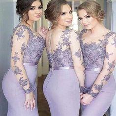 2017 Long Sleeves Mermaid Scoop Lilac Custom Bridesmaid Dresses , Wedding Party Dresses,PD2001