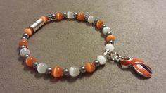 MS, Kidney, Leukemia Awareness Bracelet with Orange Ribbon. All Sizes #Handmade #Beaded