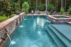 French Country Courtyard - traditional - Pool - New Orleans - Morehead Pools