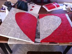 Book page heart painting