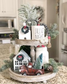tiered tray decor ideas farmhouse little red truck rae dunn christmas farmhouse decor Tiered Tray Decor Ideas: Farmhouse Style Decoration Christmas, Farmhouse Christmas Decor, Rustic Christmas, Christmas Home, Farmhouse Decor, Christmas Crafts, Farmhouse Ideas, Modern Farmhouse, Apartment Christmas