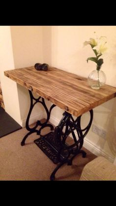 Reclaimed timber cast iron sewing machine base