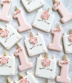 """115 Likes, 13 Comments - The Sweetest Tiers (@thesweetesttiers) on Instagram: """"First birthday unicorn cookies. Cutters from @treelittletree #unicorncookies #firstbirthdaycookies…"""""""