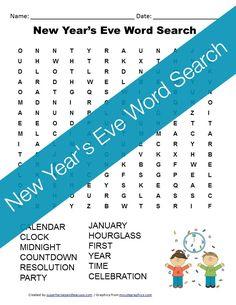 A free printable New Year's Eve word search for kids.