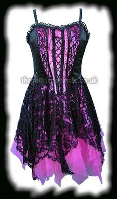 Pink Velvet & Black Lace Gothic Corset Dress - Prom