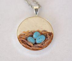 Spring Nest with Blue Eggs Folk Art by cortneyrectorFOLKART, $20.00
