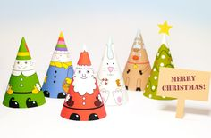 Reciclando con Erika : Divertidos conos navideños para imprimir