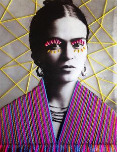 In her work, Mexican textile artist Victoria Villasana applied embroidery atop vintage photograph of artist Frida Kahlo. Art Du Collage, Mexican Pattern, Frida Art, Mexican Textiles, Colossal Art, Mexican Artists, A Level Art, Inspiration Art, Arte Pop