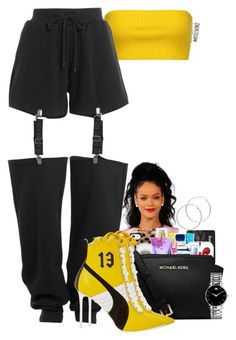 """Untitled #2329"" by basnightshine1015 on Polyvore featuring Moschino, Puma, Melissa Odabash and Movado"
