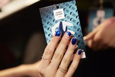 Royal blue polish with a varied amount of (slanted) bare nail New York Fashion Week F/W 2014 Nail Polish Trends, Nail Trends, 2014 Trends, Winter Nails, Autumn Nails, Fall Nail Art, Nail Brushes, Fall Winter 2014, Winter Trends