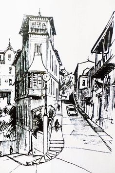 Landscape Drawings, City Landscape, Urban Landscape, Art Drawings Sketches Simple, Easy Drawings, Cityscape Drawing, Sketchbook Layout, City Sketch, Art Optical