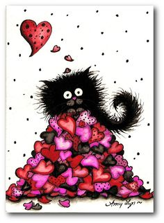 Fuzzy black cats valentine hearts by DreamCatchingStudio