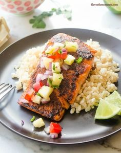 Blackened Salmon with Pineapple Salsa and Coconut Rice | 17 Sensational Salmon Recipes To Make This Summer