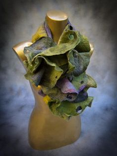 Silk georgette and merino wool felt scarf   by StudioSvenja, $160.00