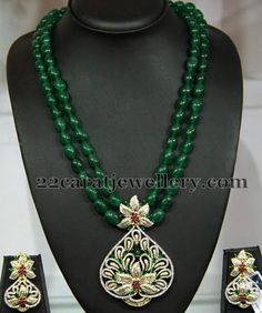 Fancy double stringed emerald beads long chain teamed up with designer unique diamond pendant and earrings set. Party wear emeralds and diamond beads set Emerald Jewelry, Gold Jewelry, Jewelery, Stone Jewelry, Diamond Jewelry, Bead Jewellery, Beaded Jewelry, Beaded Necklace, Choker Necklaces