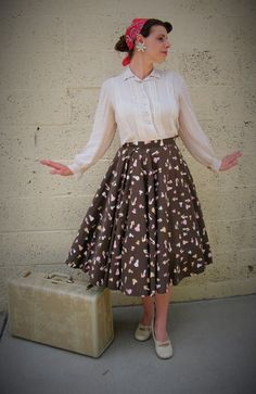 VTG 1950s Brown Circle Skirt Clothing and People Print POODLE Style Mid Century Sock Hop XS