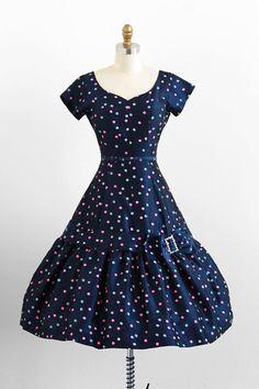 vintage 1950s polkadot birthday sprinkles cupcake dress | vintage dress.