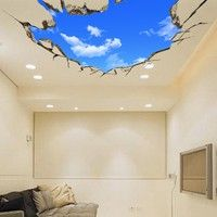 Wish | 3D large hotel lobby ceiling mural wallpaper bedroom living room ceiling painting roofs white clouds in blue sky wall paper