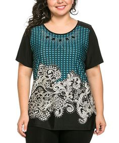 Look at this #zulilyfind! Blue & Black Paisley Scoop Neck Top - Plus by Essential Collection #zulilyfinds