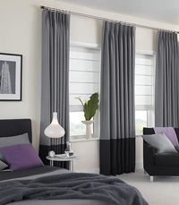 see through roman blind in white with two tone dark  curtains