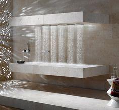 Vichy shower built into shower recess