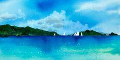 Azure Sea Watercolor Print, Seascape, Sailboats, Turquoise, Tropical Sailing, Islands, Blue