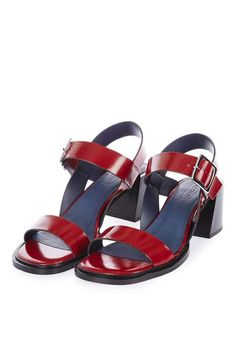 Add a pop of colour to your outfit in these red sandals with square toe detail. A mid-heel that's ideal for everyday wear. #Topshop