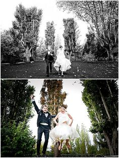 trampoline wedding photography  | © Marie-Eve Bergère Beaumont via French Wedding Style