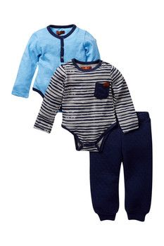 7 For All Mankind Bodysuit & Pant 3-Piece Set (Baby Boys 12-24M)