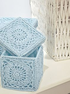 Vintage Bathroom #Crochet storage boxes. Crochet inspiration - great idea with many variations possible.