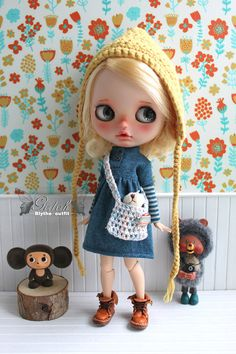 Girlish - Indian Blue Jointing Sleeves Dress for Blythe doll - dress / outfit