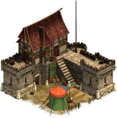 Kunyhó: Lakóépületek - Forge of Empires swashblucking Fantasy Town, Fantasy Castle, Medieval Fantasy, Buildings Artwork, Modern Buildings, Medieval Houses, Medieval Town, Concept Architecture, Architecture Design