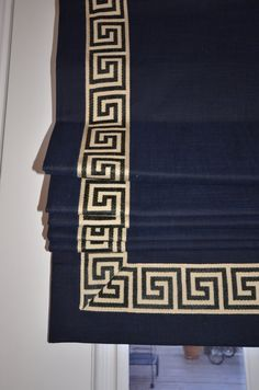 Custom flat banded roman shade with Greek Key by recreateyour