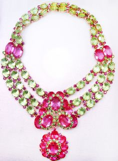 Vintage Green and Pink Faceted Glass Stone Vendome Necklace