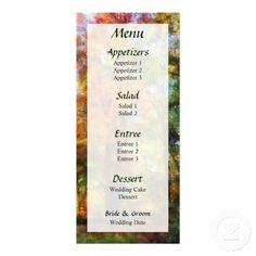 Autumn Woods Wedding Menu by Susan Savad -- Autumn wedding menu that you can customize yourself. #wedding #weddingmenu #weddingmenus #customize #gettingmarried #autumn #fall   $0.55  per card   BULK PRICING AVAILABLE!