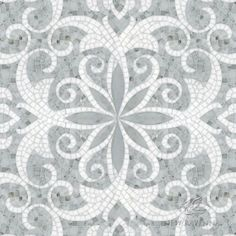 Arabella, a waterjet and hand-cut stone mosaic, shown in polished Carrara and Thassos, is part of the Silk Road Collection by Sara Baldwin for New Ravenna Mosaics.<br /> <br /> Take the next step: prices, samples and design help, http://www.newravenna.com/showrooms/