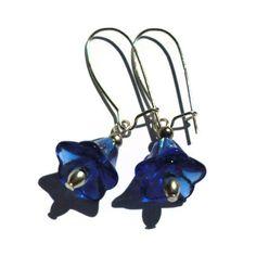 Earrings Blue Glass Flower Drop £4.00