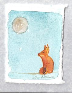 Fox Miniature Fox Watercolor Painting on by ElissaSueWatercolors, $15.00