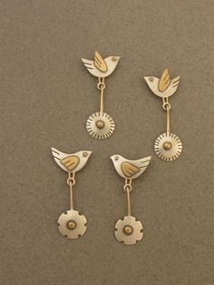 Birds &flowers earrings