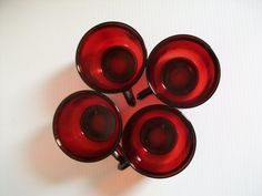4 vintage red glass cups  Ruby Red Arcoroc of France  by GTDesigns