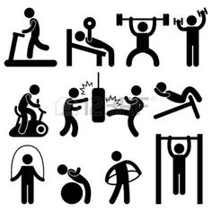Illustration of Man People Athletic Gym Gymnasium Body Building Exercise Healthy Training Workout Sign Symbol Pictogram Icon vector art, clipart and stock vectors. Bodybuilding Training, Bodybuilding Workouts, Bodybuilding Logo, College Workout, Fitness Icon, Fitness App, Weight Loss Workout Plan, Weight Training, Weight Lifting