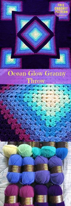 "Ocean Glow #GrannyThrow #FreeCrochetPattern #CrochetThrow | Size: 36"" x 36"" 