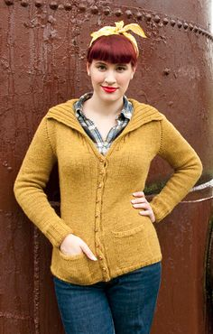 This gorgeous, mustard-colored knit cardigan pattern is an ode to earlier days. The retro-chic Armande Cardigan is a great layering option for variable spring weather but is a wonderful piece for year-round wear. We love the sweet button detailing and darling front pockets that give this cardigan its old-fashioned flare. The Armande Cardigan may take a little time, but with patience you can create a lovely knit cardigan to be proud of.