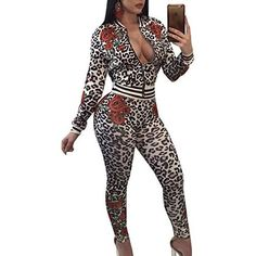 Abasona Women Jumpsuits Rompers Autumn Winter Long Sleeve Two Piece Outfits Vintage Leopard Printed Jumpsuit Casual Party Women 2 Piece Outfits, Two Piece Outfit, Jumpsuit Casual, Bodycon Jumpsuit, Jumpsuit Outfit, Printed Jumpsuit, Bodycon Outfits, Long Sleeve Outfits, Pantsuits For Women
