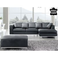 Black Oslo Modern Sectional Leather Sofa With Ottoman