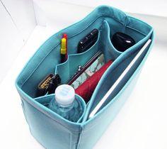 L11. ( ipad pocket ) Light blue felt bag organizer - large size 2 (W 12in H 8.3in D 5in ), also for a school / baby bag, desk, car & etc.. $35.95, via Etsy.