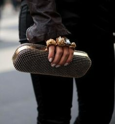 studded leather clutch bag trends 2013-2014 | I Think Fashion
