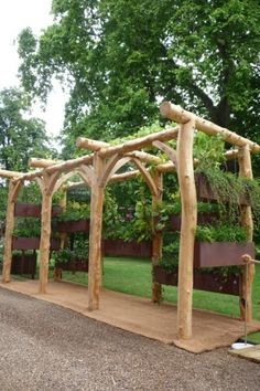 Round pergola with wooden frame for garden. See more projects in www. Diy Pergola, Timber Pergola, Rustic Pergola, Retractable Pergola, Pergola Plans, Pergola Kits, Pergola Ideas, Gazebo, Big Garden