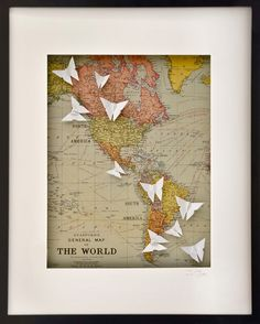 The World (South America)Large Origami Paper Butterfly Frame by Short Story. Love love love this